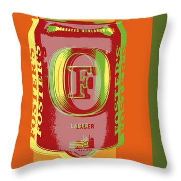 Throw Pillow featuring the digital art Foster's Lager Pop Art by Jean luc Comperat