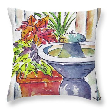 Fountain And Friends Throw Pillow