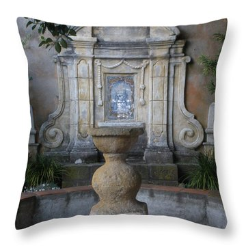 Fountain At Mission Carmel Throw Pillow