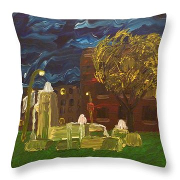 Fountain At Night Throw Pillow