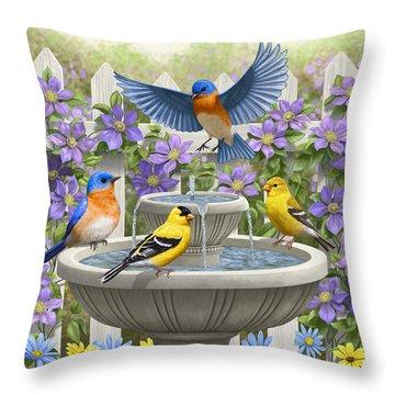 Fountain Festivities - Birds And Birdbath Painting Throw Pillow by Crista Forest