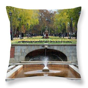 fountain in Buen Retiro  Throw Pillow