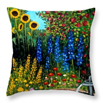 Fountain Of Flowers Throw Pillow