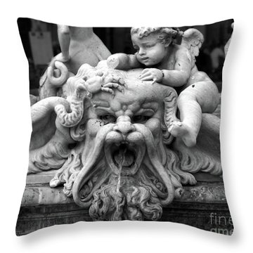 Fountain Of Neptune Detail In Rome Throw Pillow