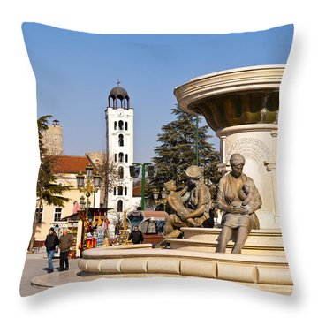 Fountain Of The Mothers Throw Pillow by Rae Tucker