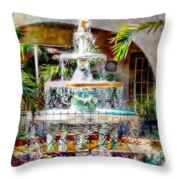 Fountain Of Water Throw Pillow by Barbara Chichester