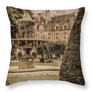 Paris, France - Fountain, Place Des Vosges Throw Pillow