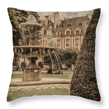 Paris, France - Fountain, Place Des Vosges Throw Pillow