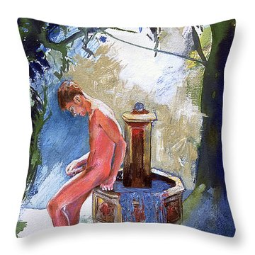 Fountain Throw Pillow by Rene Capone