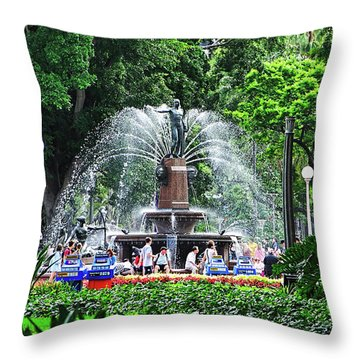 Throw Pillow featuring the photograph Fountain Through The Trees By Kaye Menner by Kaye Menner