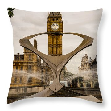 Fountain With Big Ben Throw Pillow