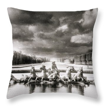 Fountain With Sea Gods At The Palace Of Versailles In Paris Throw Pillow by Simon Marsden