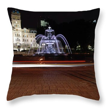Fountaine De Tourny And Quebec Parliament Throw Pillow