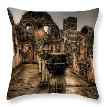 Throw Pillow featuring the photograph Fountains Abbey In Pouring Rain by Dennis Dame