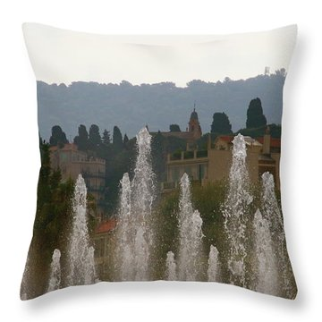Throw Pillow featuring the photograph Fountains At Dawn by Rasma Bertz