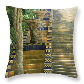 Fountains At Montjuic Throw Pillow