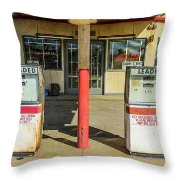 Four Aces Store And Gas Pumps Throw Pillow by Robert Hebert