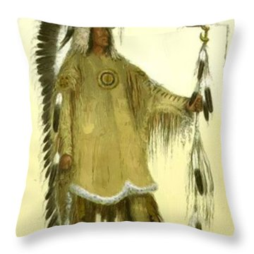 Four Bears Mandan Chief 1833 Throw Pillow