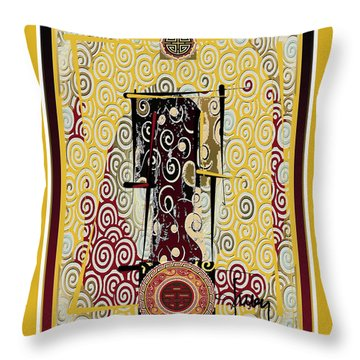 Throw Pillow featuring the mixed media Four Blessings Double Happiness Japanese Kimono by Larry Talley