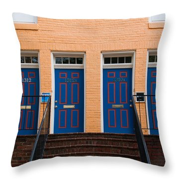 Throw Pillow featuring the photograph Four Blue Doors by Monte Stevens