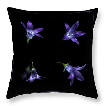 Four Bluebell Flowers - Light Painting Throw Pillow