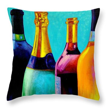 Four Bottles Throw Pillow by John  Nolan
