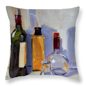 Throw Pillow featuring the painting Four Bottles by Nancy Merkle