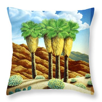Four Bunch Palms Throw Pillow by Snake Jagger