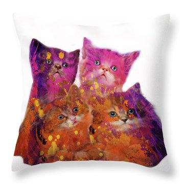 Four Cute Kittens  Throw Pillow