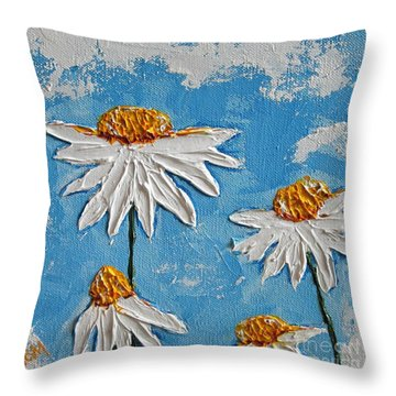 Four Daisies Throw Pillow