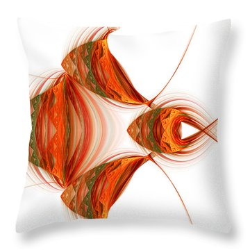 Throw Pillow featuring the digital art Four Fractal Fishies by Richard Ortolano