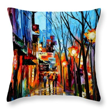Four Friends Throw Pillow by Leonid Afremov