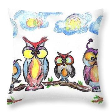 Four Friends  Throw Pillow