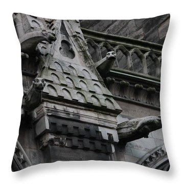 Throw Pillow featuring the photograph Four Gargoyles On Notre Dame North by Christopher Kirby