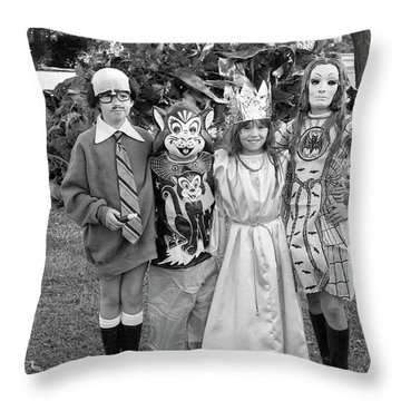 Four Girls In Halloween Costumes, 1971, Part One Throw Pillow