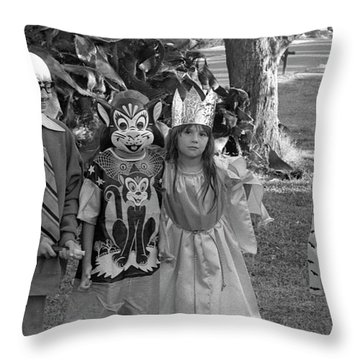 Four Girls In Halloween Costumes, 1971, Part Two Throw Pillow