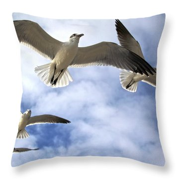 Four Gulls Throw Pillow