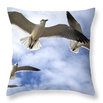 Four Gulls Throw Pillow