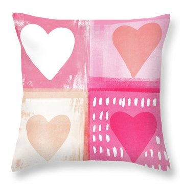 Four Hearts- Art By Linda Woods Throw Pillow