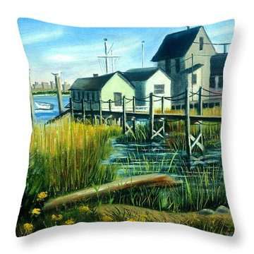 High Tide In Broad Channel, N.y. Throw Pillow