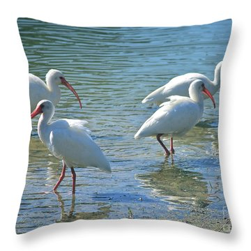 Four Ibises Throw Pillow by Carol Groenen