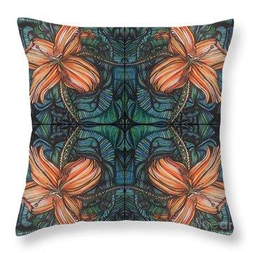 Four Lilies Leaf To Leaf Throw Pillow