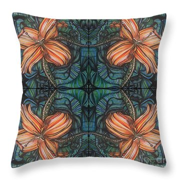 Four Lilies Leaf To Leaf Throw Pillow