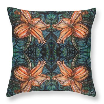 Four Lilies Looking In Throw Pillow