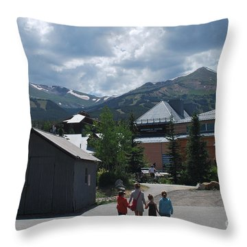 Four Little Children Safe In A Big Beautiful World Telluride Colorado Throw Pillow by Heather Kirk