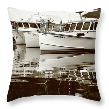 Four Lobster Boats Throw Pillow