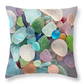 Four Marbles And A Rainbow Of Beach Glass Throw Pillow
