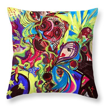 Experimenting With Creation Throw Pillow by Marina Petro