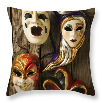 Four Masks Throw Pillow by Garry Gay