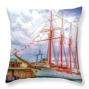 Four Masted Schooner In Port Throw Pillow